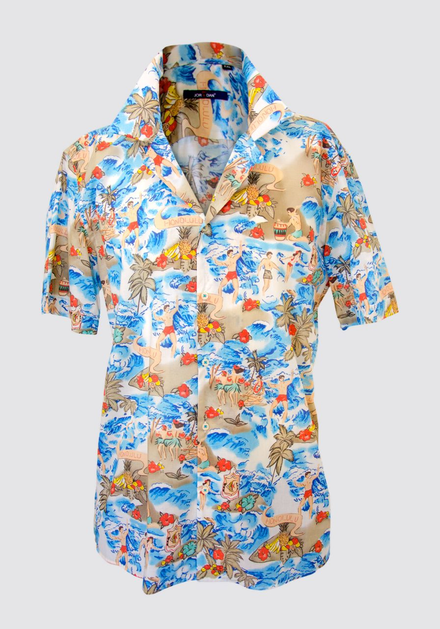 "CAMICIA MEZZA MANICA STAMPA FANTASIA ""SURF HONOLULU"", COLLO BOWLING"